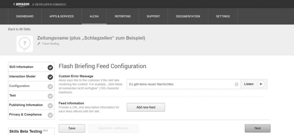 Alexa Flash Briefing Skill einrichten